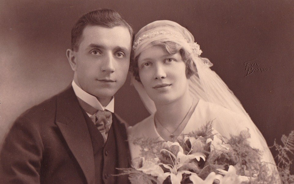 Vintage, Wedding, Grandparents, Old, Photography